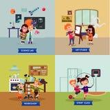 Conceito quadrado dos passatempos das crianças ilustração stock