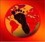Conceito quente da pegada do carbono Imagem de Stock Royalty Free