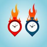 Conceito quente do logotipo do lugar do tempo com o fogo isolado no fundo azul imagem de stock