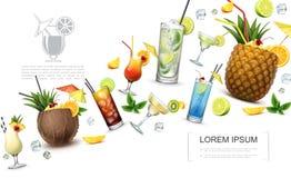 Conceito realístico das bebidas de alcoólico ilustração do vetor