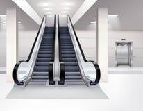 Conceito realístico interior da escada rolante Imagem de Stock Royalty Free