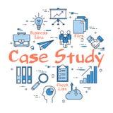 Conceito redondo azul do estudo de caso ilustração stock