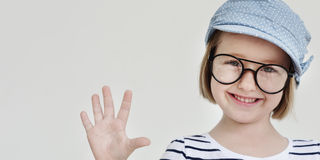 Conceito retro de sorriso da felicidade do divertimento da menina bonito Fotos de Stock Royalty Free