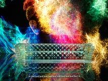 Conceito retro do estilo de vidro do sofá do sofá no ambiente escuro 3d rendem Imagem de Stock