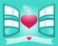Conceito romântico de Windows e do coração bonito Illustra do vetor ilustração stock