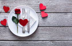 Conceito romântico do jantar Fundo do dia de são valentim ou da proposta Fotografia de Stock Royalty Free