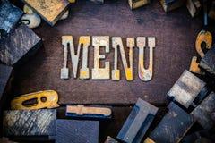 Conceito Rusty Type do menu Fotos de Stock Royalty Free