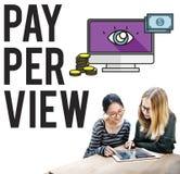 Conceito satisfeito da observação da lente de aumento do pay-per-view Foto de Stock Royalty Free