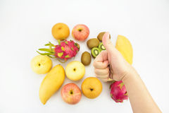 Conceito saudável comer, mão com polegar acima Imagem de Stock