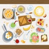 Conceito saudável da refeição comer com as bacias de salada frescas na ilustração de madeira do vetor da opinião superior do work ilustração do vetor