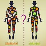 Conceito saudável do estilo de vida Escolha o que você come Estilo de vida saudável e hábitos maus Vetor ilustração stock