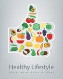 Conceito saudável do estilo de vida Nós somos o que nós comemos Vetor ilustração royalty free