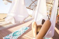 Conceito saudável e da mosca da ioga Imagens de Stock Royalty Free
