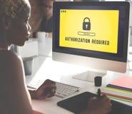 Conceito seguro da exigência da licença da privacidade da autorização imagens de stock
