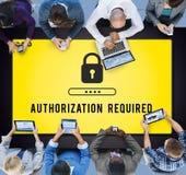 Conceito seguro da exigência da licença da privacidade da autorização imagens de stock royalty free