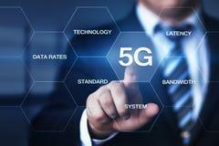 conceito sem fio móvel do negócio do Internet da rede 5G Foto de Stock