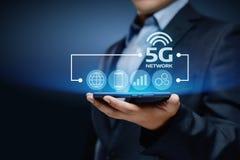 conceito sem fio móvel do negócio do Internet da rede 5G Imagens de Stock