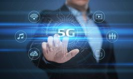 conceito sem fio móvel do negócio do Internet da rede 5G Fotografia de Stock
