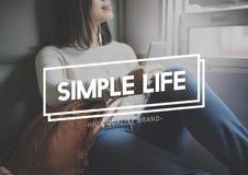 Conceito simples da mente do estilo de vida da felicidade do equilíbrio da vida Fotos de Stock Royalty Free