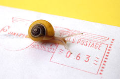 Conceito - snail mail Fotos de Stock Royalty Free
