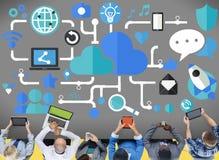 Conceito social da conexão da tecnologia dos trabalhos em rede dos meios sociais Fotografia de Stock