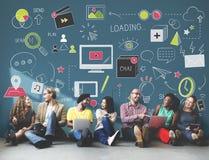 Conceito social da conexão da tecnologia dos trabalhos em rede dos meios sociais fotos de stock