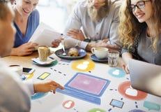 Conceito social da conexão da tecnologia dos trabalhos em rede dos meios sociais imagem de stock