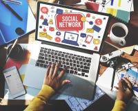 Conceito social da conexão de Media Communication da rede imagens de stock royalty free