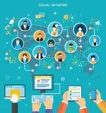 Conceito social da conexão de rede dos media ilustração do vetor