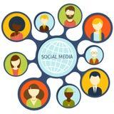 Conceito social da conexão de rede dos media ilustração royalty free