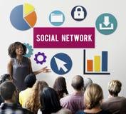 Conceito social da conexão a Internet da rede dos meios foto de stock