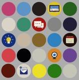 Conceito social da ilustração dos símbolos dos sinais dos ícones dos meios Foto de Stock