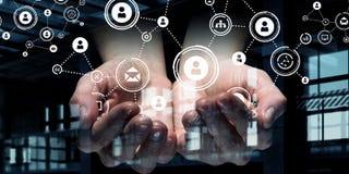 Conceito social da interação 3d rendem Imagens de Stock Royalty Free