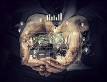 Conceito social da interação 3d rendem Foto de Stock Royalty Free