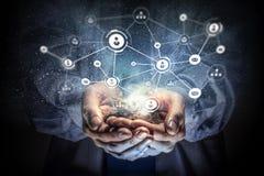 Conceito social da interação 3d rendem Meios mistos Imagem de Stock Royalty Free