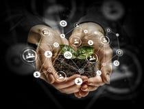 Conceito social da interação 3d rendem Meios mistos Foto de Stock Royalty Free