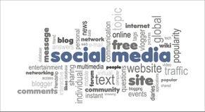 Conceito social da nuvem da palavra dos meios Fotografia de Stock