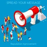 Conceito social da promoção isométrico Imagens de Stock
