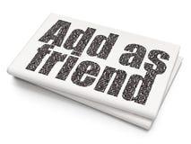 Conceito social da rede: Adicione como o amigo no fundo vazio do jornal Fotos de Stock Royalty Free