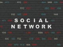 Conceito social da rede: Rede social no fundo da parede Fotos de Stock Royalty Free