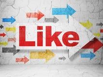 Conceito social da rede: seta com como em fundo da parede do grunge Fotos de Stock