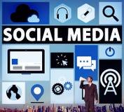 Conceito social da relação dos meios da conexão dos trabalhos em rede dos meios sociais Fotografia de Stock Royalty Free