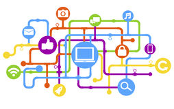 Conceito social da tecnologia de rede da conexão dos meios ilustração royalty free
