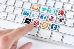Conceito social de uma comunicação dos meios Fotografia de Stock Royalty Free