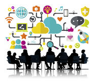 Conceito social do armazenamento de dados da conexão dos trabalhos em rede dos meios sociais Fotografia de Stock