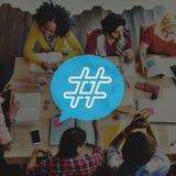 Conceito social do cargo do blogue dos meios do ícone de Hashtag Fotografia de Stock Royalty Free