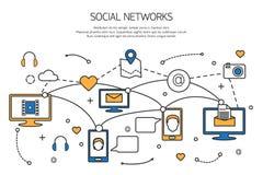 Conceito social do esboço da rede de uma comunicação Fotografia de Stock Royalty Free