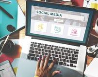 Conceito social do gráfico da comunidade da parte dos meios Fotografia de Stock