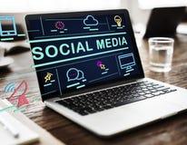Conceito social do Internet da conexão de Media Communication fotos de stock royalty free