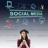 Conceito social do Internet de Media Communication Conection foto de stock
